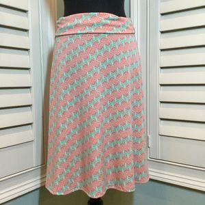 Lularoe Floral Print Azure Skirt, Medium, EUC